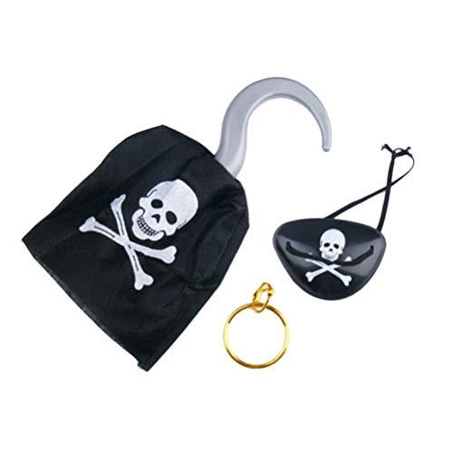 Toyvian 3 stücke Piratenkostüm Zubehör Piraten Augenklappe Ohrring Haken Set Piraten Cosplay Party ()