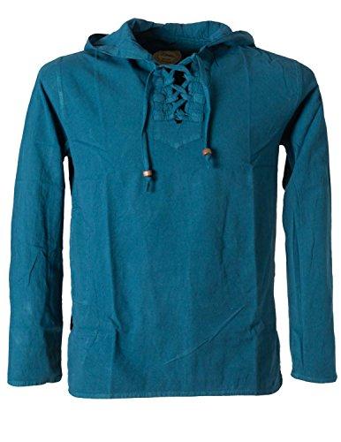ekleidung – Bequemes Fischerhemd Zum schnüren mit Kapuze und Seitentasche Türkis 46 (Thai Fisherman Shirt)