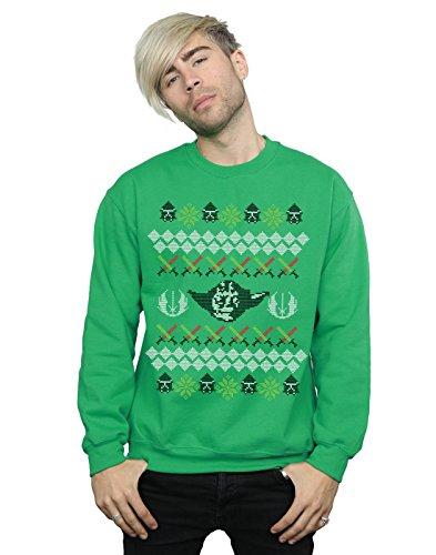 Star Wars Herren Christmas Yoda Fair Isle Sweatshirt Large Kelly-Grün