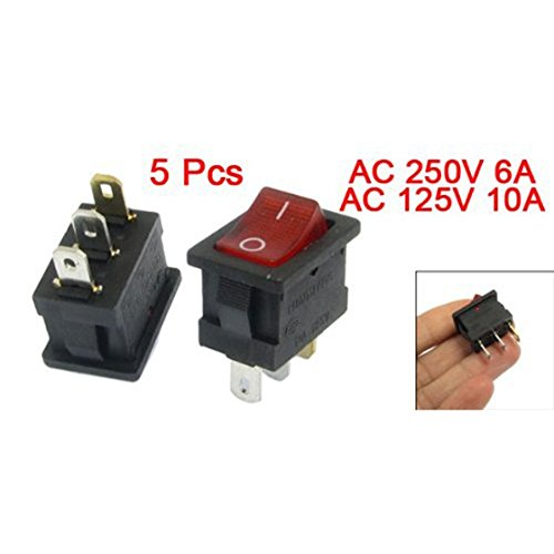 SODIAL (R) 5 Stueck Rot-Licht beleuchtet EIN / AUS-2 Position SPST Boot Wippschalter 3 Pin
