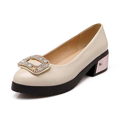AllhqFashion Femme à Talon Bas Verni Couleur Unie Tire Rond Chaussures Légeres Beige