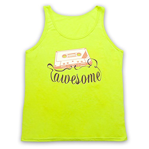 Cassette Tape Awesome Text Tank-Top Weste Neon Gelb