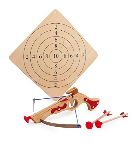 Childrens Wooden Toy Crossbow With 3 Arrows & Target