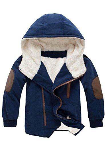 Vogstyle Ragazzi Inverno Cottone Cappotto Con Cappuccio Pelliccia Spessi Imbottito Parka Bambini Zip Giacca Warm Coat Marina Militare 12 Anni/Altezza 140-150