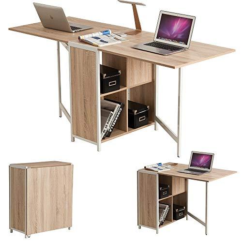 Bakaji tavolo multiuso scrivania pieghevole richiudibile allungabile con libreria 4 scomparti e ripiani a scomparsa in legno e acciaio colore beige