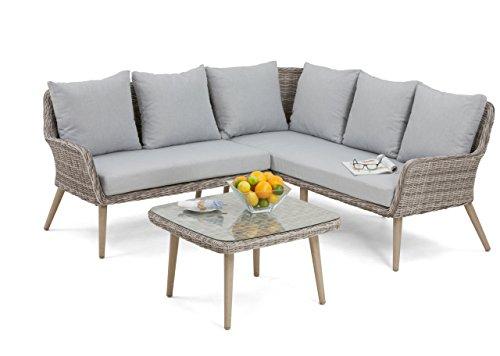 Maze Rattan par-603010klein Paris Ecke Sofa-Set in einem Geflecht-Licht Grau Ton -