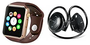 MIRZA Bluetooth A1 Smart Watch & Bluetooth Headset for PANASONIC ELUGA A(Mini 503 Bluetooth Headset & A1 Smart Watch Watch Phone with Camera & SIM Card Support Hot Fashion New Arrival Best Selling Premium Quality Lowest Price with Apps like Facebook,Whatsapp, Twitter, Sports, Health, Pedometer, Sedentary Remind,Compatible with Android iOS Mobile Tablet-Assorted Color)