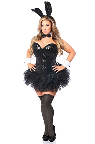 Kostüm Black Manschetten Bunny - Daisy Corsets Gänseblümchen Korsett, für Damen, 5 Stück - Schwarz - Mittel