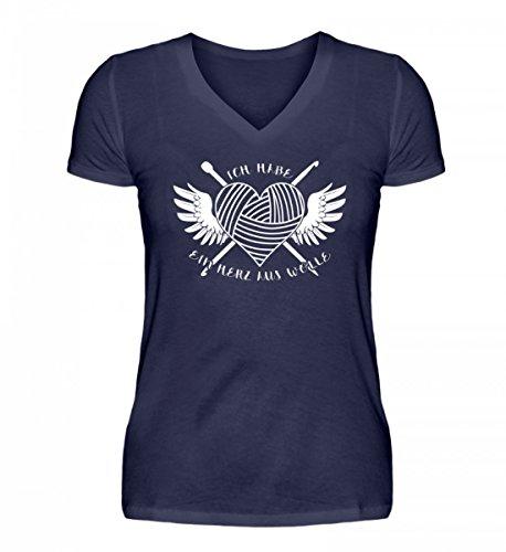 Camicia Da Donna Scollo A V Shirtee Di Alta Qualità - Cuore Di Lana Blu Scuro