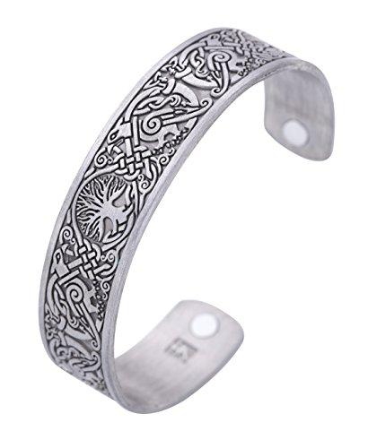 Vikingerbaum des Lebens Hugin Munin Raven Magnetisches Barcelet, Armreif mit keltischem Knoten (Antiksilber)