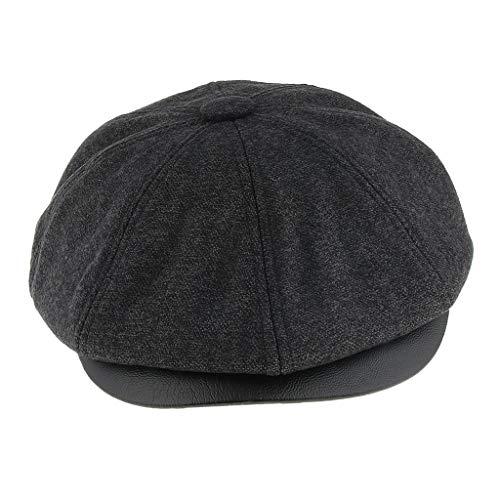 IPOTCH Sombrero de Vendedor de Periódicos Gorra de Béisbol Boina Casquillo de Golf Taxista para Primavera Otoño Invierno - Gris oscuro, como se describe