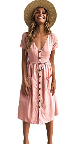 ALAIX Ladies' Casual Short Sleeve V Neck Button Down Summer Swing Midi Dress with Pockets for Women
