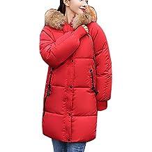 8t0z0 Abrigo Mujer Rojo Amazon Largo Plumas xXqFcv