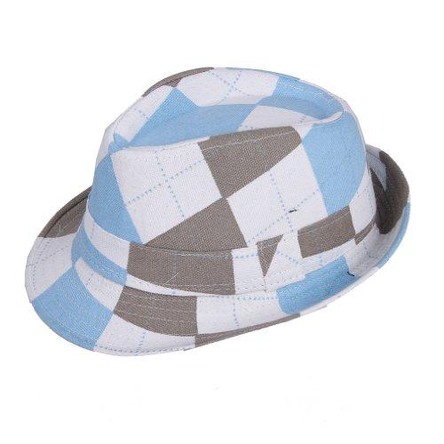 EOZY 6PCS Enfant Unisexe Chapeau Fedora Coton Canevas avec Ruban Carreau Bleu