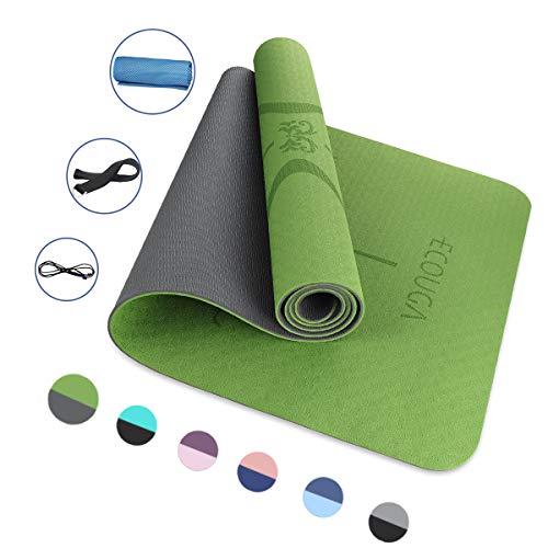 ECOUGA Yogamatte, rutschfeste TPE ECO Gymnastikmatte für Yoga (grün)