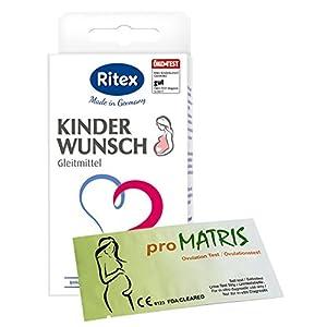 Ritex Kinderwunsch Gleitmittel 8 Applikatoren à 4 ml Vorteilspack + 20 proMatris Ovulationstest Streifen 10 miu/ml