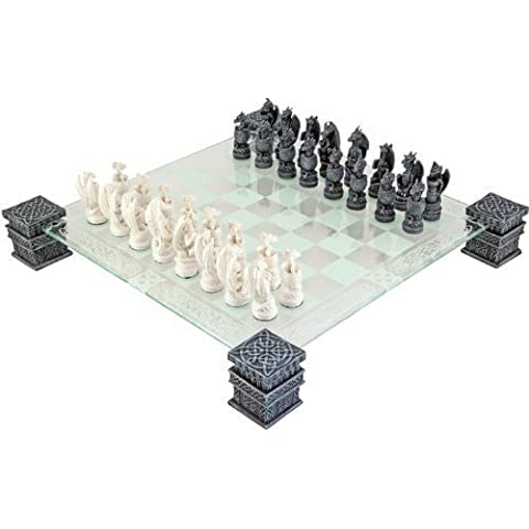 Dragon Fantasy Glass Chess Set by Nemesis Now