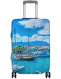 MyDaily Port of Kos Island Greece Luggage Cover Fits 18-32 Inch Suitcase Spandex Travel Protector Cover Only