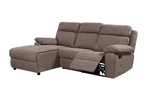 B.h.d viviane–divano angolare inclinabile–classico–recliner–tessuto–226x 155x 85 tradizionale beige