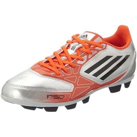 Scarpe da Allenamento Calcio per Uomo Adidas F5 TRX HG con Tacchetti Sagomati cV21414 Nuove - Argento/Rosso, gomma, EU 41 1/3