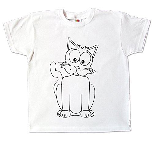Kinder T-Shirt Katze zum bemalen mit Vordruck Kindergeburtstag Kindergarten (128)
