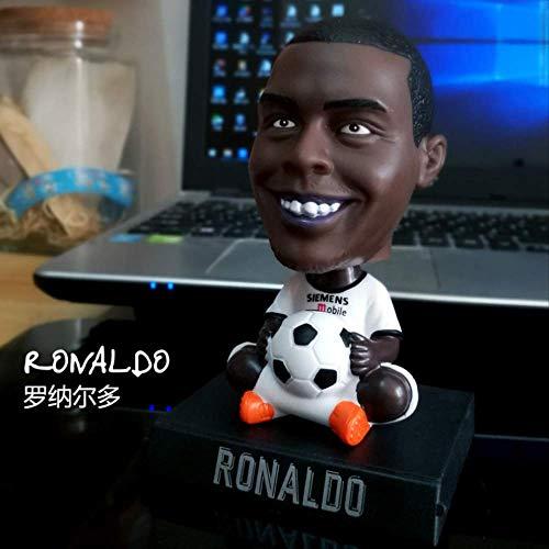newolfend Estrellas De Fútbol Ronaldo Messi Neymar Pogba Bobble Cabeza Muñecas Teléfono Titular PVC Figura De Acción Modelo Juguetes Niños Cumpleaños Regalo 12cm F