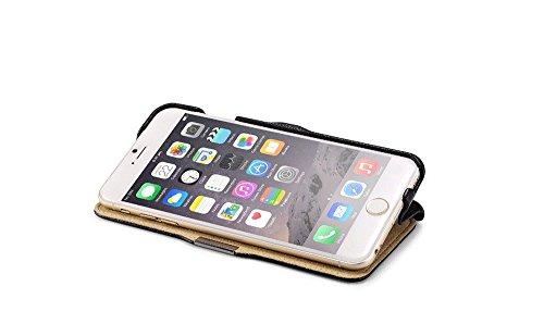 Luxus Tasche für Apple iPhone 6 Plus (5.5 Zoll) / Case Außenseite aus Echt-Leder / Innenseite aus Textil / Schutz-Hülle seitlich aufklappbar / ultra-slim Cover / Hülle mit Standfunktion / Farbe: Rot Hellbraun
