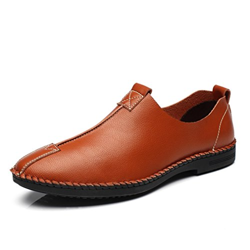 Hommes Chaussures Mocassins en Cuir PU Souple Plat Léger Respirent Semelle Antidérapant Loisir Derby slip-on Brun