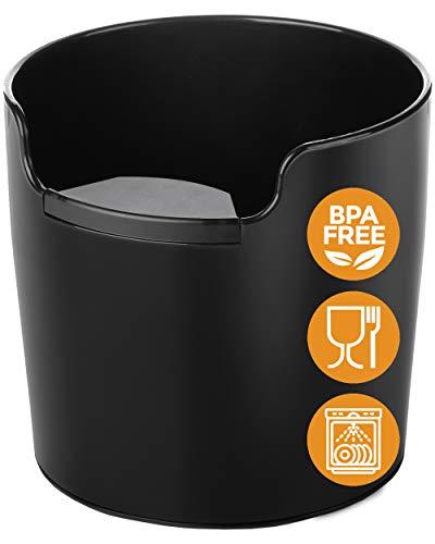 NEU: Homeffect® Abklopfbehälter mit verbesserter Handhabung - Deutsche Innovation - Abschlagbehälter für Siebträger-Maschinen - Knock Box, Schwarz - Barista Zubehör zum Kaffeesatz sammeln & recyceln