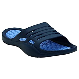 A&H Footwear Womens Ladies Lightweight Slip On EVA Peep Toe Girls Summer Beach Pool Sliders Flip Flops Casual Mules Sandals Shoes UK Sizes 3-8 (UK 6/EU 39, Navy/Blue)
