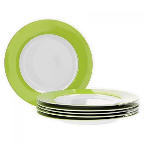 Van Well 6er Set Speiseteller Essteller flach Serie Vario Porzellan - Farbe wählbar, Farbe:grün - Grüner Rand