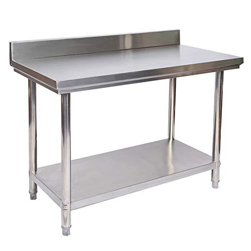 Wiltec Edelstahl Tisch Arbeitstisch Edelstahltisch mit Aufkantung 120 x 60 x 85 cm