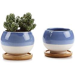 Rachel's 7.5CM Kugel Form Keramik Sukkulenten Töpfe Kakteen Pflanze Topf Mini Blumentöpfe Blau 2 teilig Set