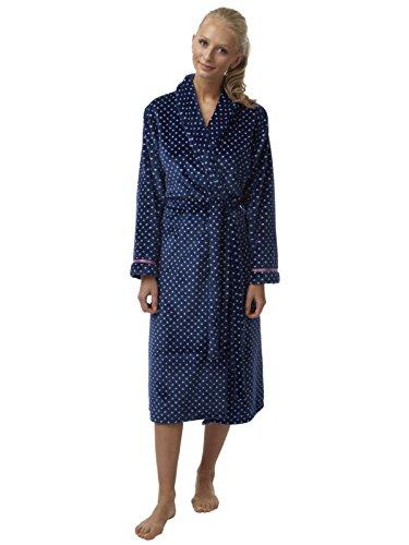 Meine Damen Spot drucken Weiche Flanell Fleece Bademantel Satinband Marine 38/40 (Flanell Damen-robe)