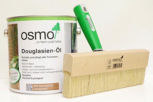 AB.Bauconcept GbR© Kombiangebot: Osmo Douglasien-Öl 004 2,5 Liter und Osmo Fußbodenstreichbürste 220 mm