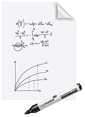 Legamaster 7-159100 Magic-Chart Whiteboard, elektrostatische Folie für verschiedene Oberflächen, gerollt 25 Blatt (je 60 x 80 cm)