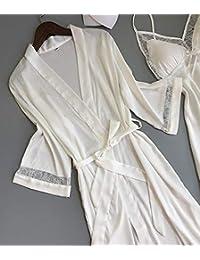 WXNLEAI Mostrador de seda genuino de dos piezas Vestido de noche de seda con hielo de pijama de encaje de honda…
