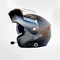 Multi-Función Motocicleta Bluetooth Casco Eléctrico Moto Doble Lente Cara Abierta Casco Hombres Y Mujeres Al Aire Libre Montar Casco Completo Cara,B,L