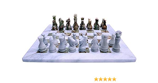 New Chessboard with Intarsi white /& Black Marble Chess Set Chessboard 40x40cm