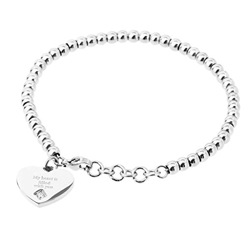"KnSam Donne Acciaio Inossidabile Bracciale Tennis Bangle Perline Cuore ""My Heart is filled with you"" Argento"