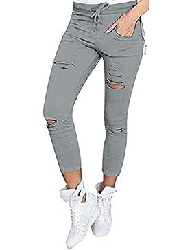 Leggings Deporte con Rotos Mujer Pantalones Skinny Cintura Elastica Tallas Grandes