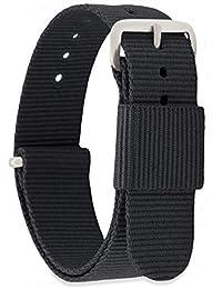 MOMENTO Cinturino Nato per Orologio Uomo Donna con Fibbia in Acciaio Inossidabile in Argento e Tessuto Nylon in Nero 18mm