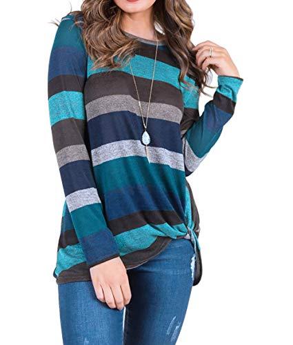 Preisvergleich Produktbild Lylafairy 2018 Winter Langarmshirt,  Damen Lose Casual Pullover Gestreift Rundhals Tshirt Hemd Oberteile Tops (XXL,  Grün)