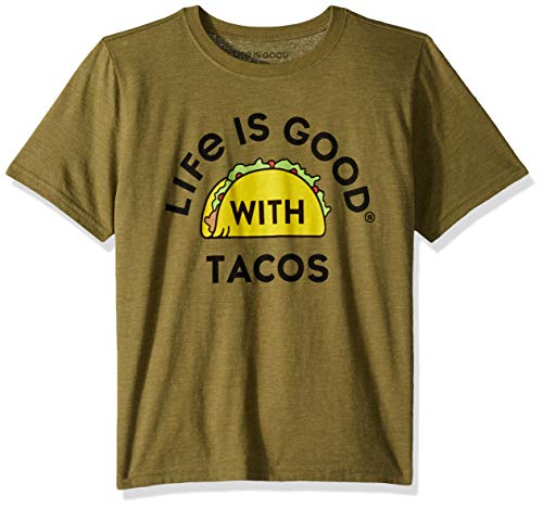 Life Is Good Boys Cool Tee with Tacos, Fatigue Green, XX-Large - Life Is Good Boys T-shirt