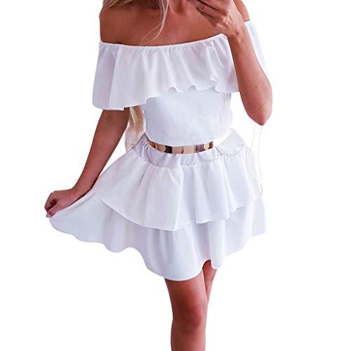 AG&T❤ Robe Sexy Off Épaule Haut Col Bateau Femme, Mini Robe Grande Taille Sertissage Dames Manches Courtes Slim Fête Jupe Soirée Partie Mignon Robe de soirée de Bal d'étudiants