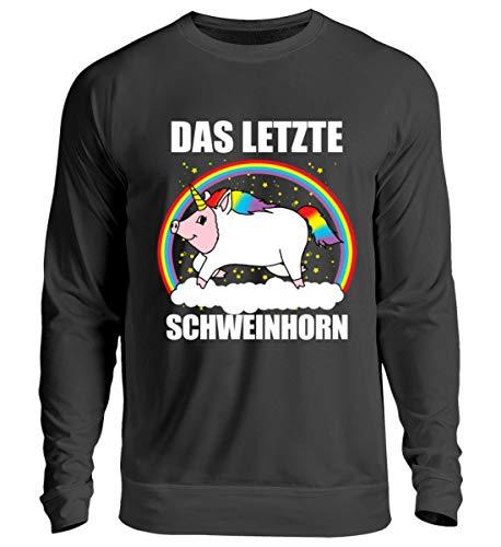Einhorn Kostüm Das Letzte - EBENBLATT Lustig Das letzte Schweinhorn Einhorn Unicorn Kostüm Bekleidung Geschenk Geschenkidee - Unisex Pullover -S-Jet Schwarz