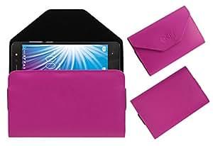 Acm Premium Flip Flap Pouch Case for Lava X50 Plus Mobile Leather Cover Pink