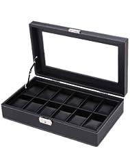Songmics - Caja organizadora y de exhibición con vitrina para 12 relojes, también para soporte de joyería variada - JWB302B