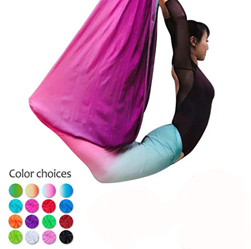 E-Bestar 5M Yoga DIY Silk Antigravity Yoga Amacadi Yoga Amaca per Pilates Altalena Attrezzatura per Danza Aerea Aerial Silks Yoga Swing Incluso Solo Il Tessuto Non Gli Altri Accessori (Multi Color-G)