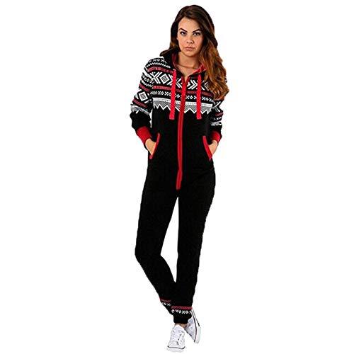 Amphia - Damen Weihnachten Schneeflocke Print Einteiler Pyjamas Home Wear Kostüm Schwarz,Frauen Weihnachten Herbst Winter lässig Hoodie Print Weihnachten Reißverschluss Print ()